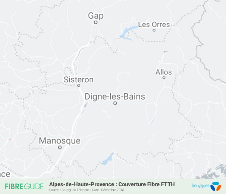 Carte Fibre Bouygues Télécom Alpes-de-Haute-Provence