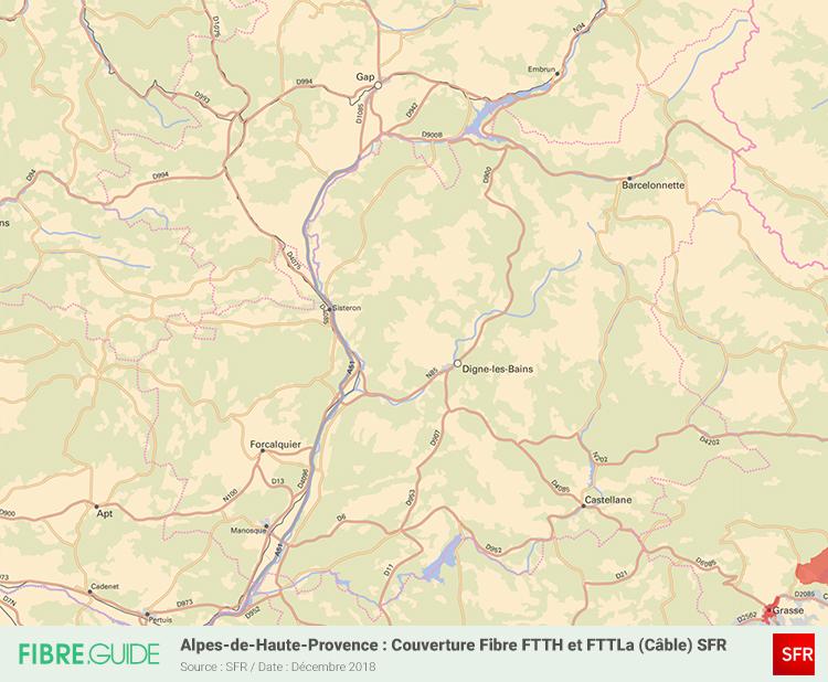 Carte Fibre SFR Alpes-de-Haute-Provence