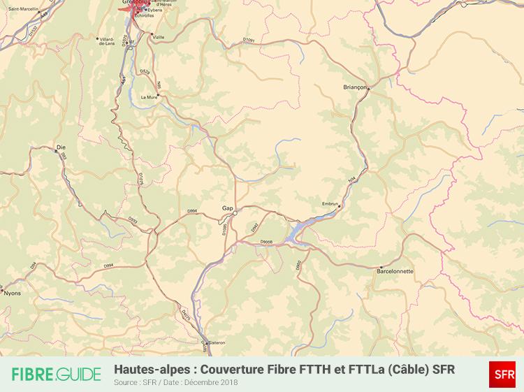 Carte Fibre SFR Hautes-Alpes