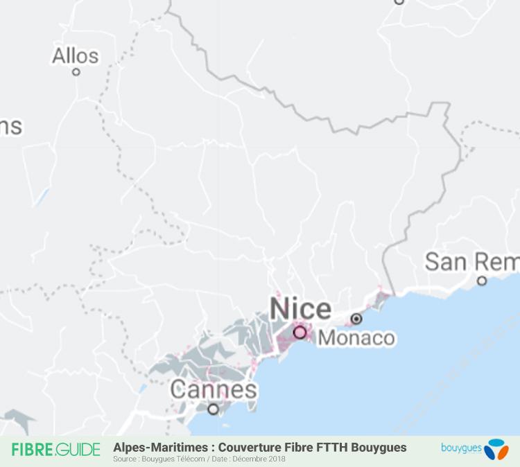 Carte Fibre Bouygues Télécom Alpes-Maritimes