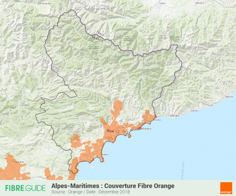 Carte Fibre Orange Alpes-Maritimes
