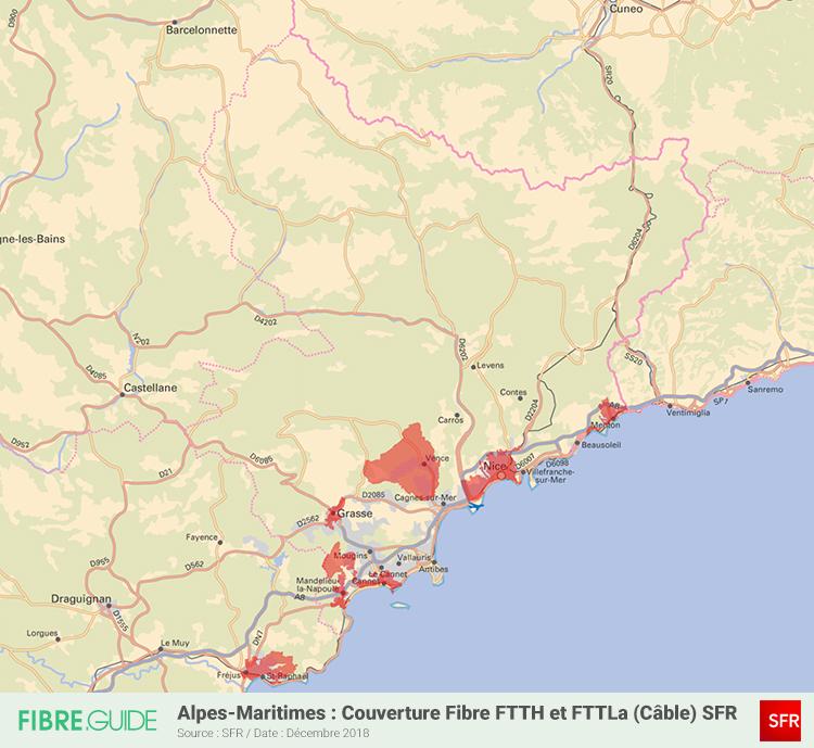 Carte Fibre SFR Alpes-Maritimes