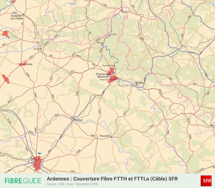 Carte Fibre SFR Ardennes