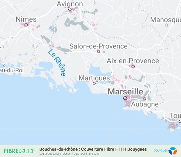 Carte Fibre Bouygues Télécom Bouches-du-Rhône