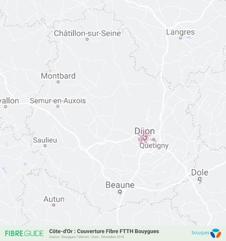Carte Fibre Bouygues Télécom Côte-d'Or