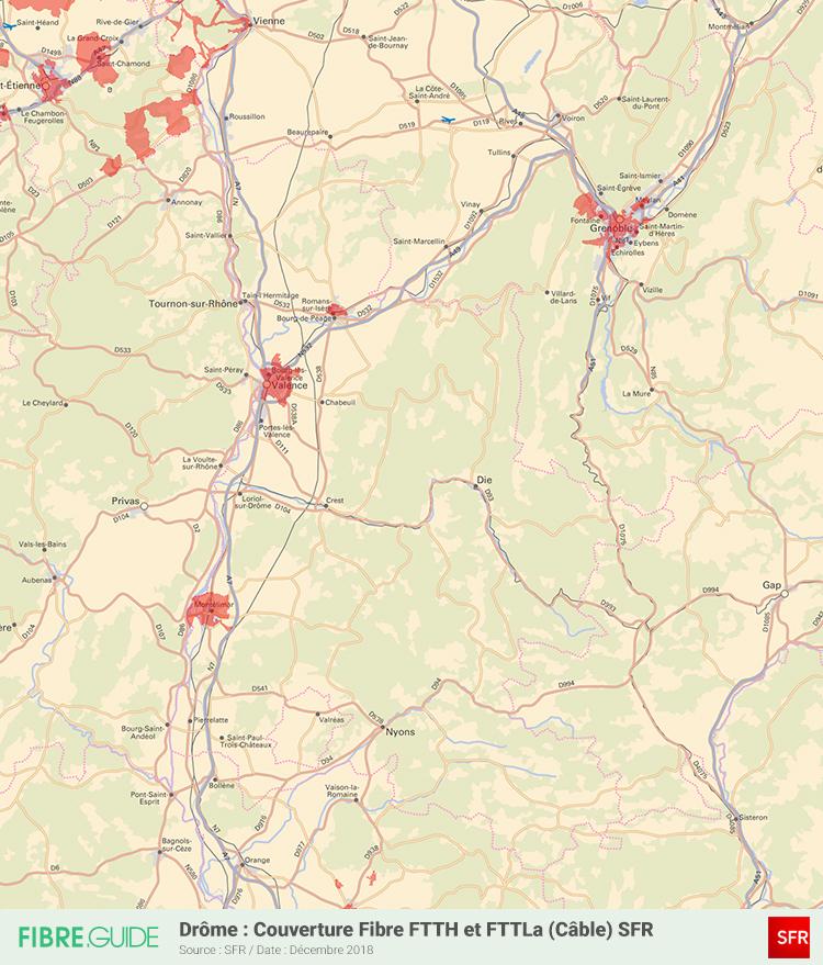 Carte Fibre SFR Drôme