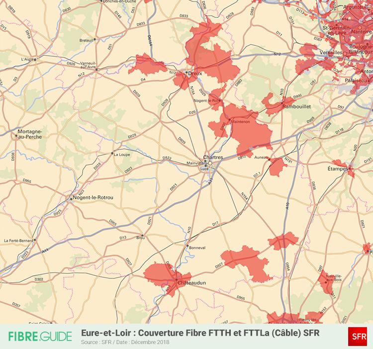 Carte Fibre SFR Eure-et-Loir