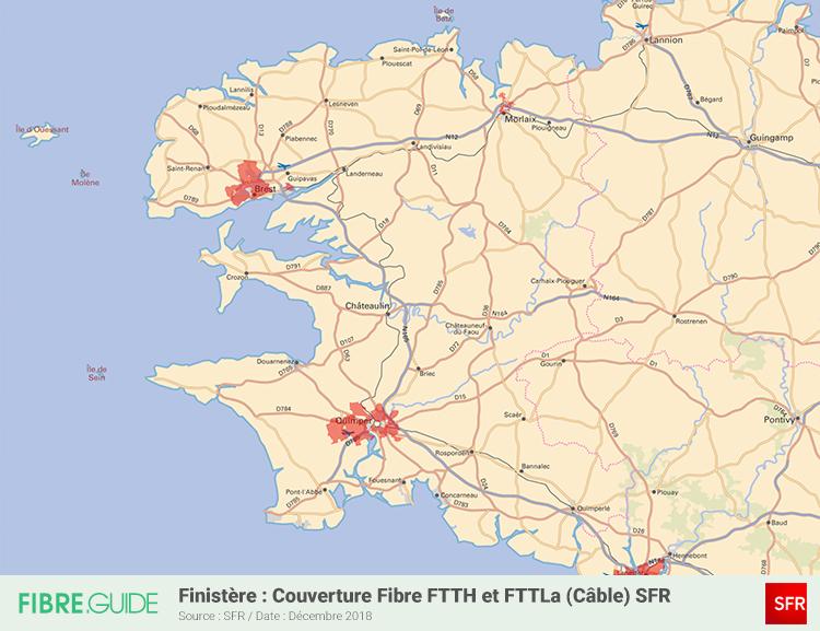Carte Fibre SFR Finistère