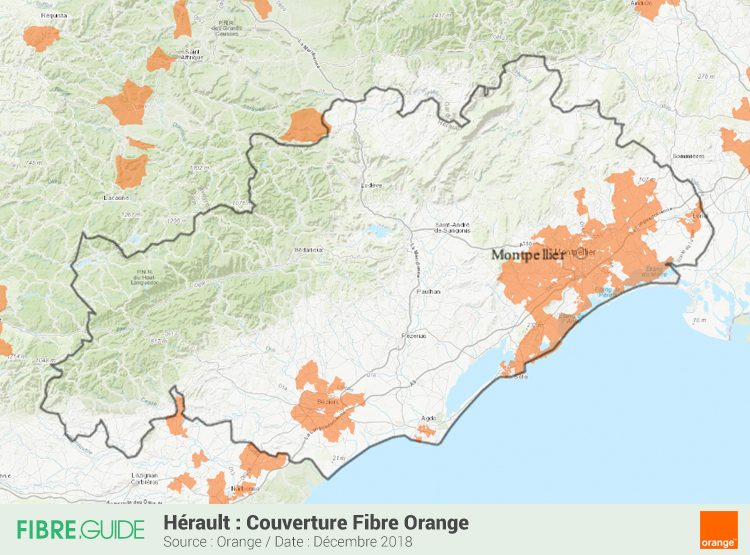 Carte Fibre Orange Hérault