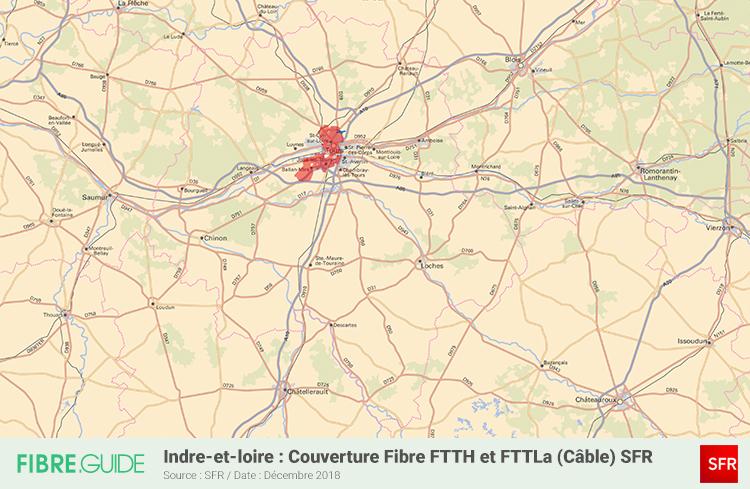 Carte Fibre SFR Indre-et-Loire