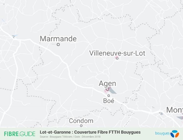 Carte Fibre Bouygues Télécom Lot-et-Garonne