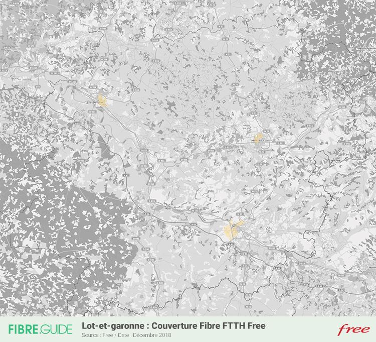 Carte Fibre Free Lot-et-Garonne