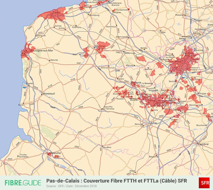 Carte Fibre SFR Pas de Calais