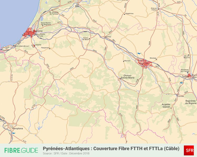 Carte Fibre SFR Pyrénées-Atlantiques