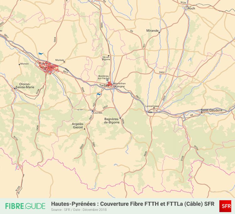 Carte Fibre SFR Hautes-Pyrénées
