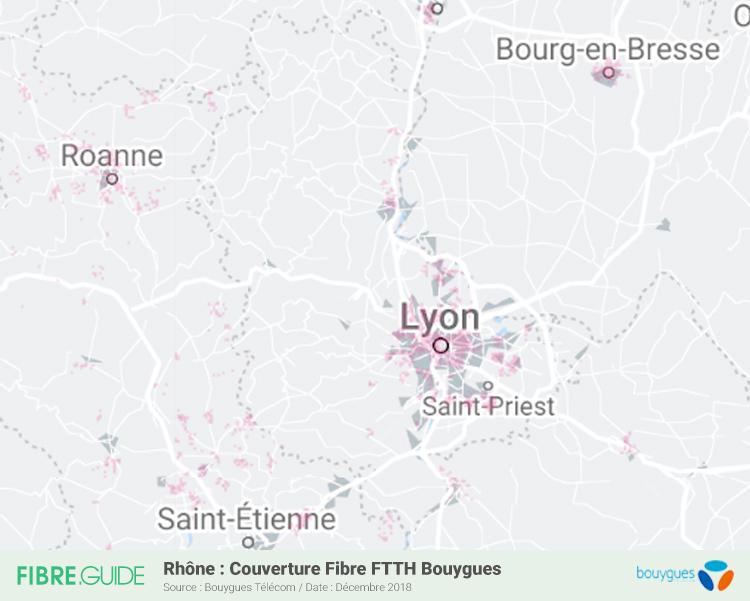 Carte Fibre Bouygues Télécom Rhône