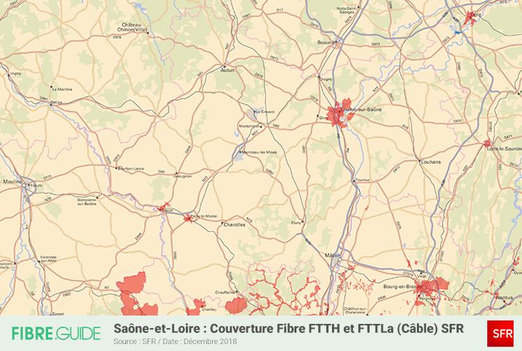 Carte Fibre SFR Saône-et-Loire