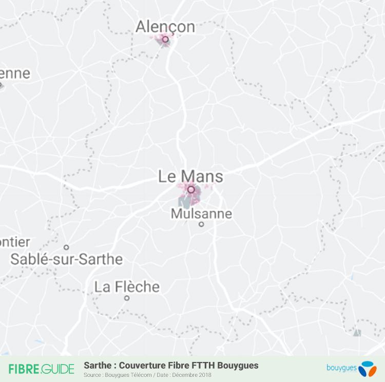 Carte Fibre Bouygues Télécom Sarthe