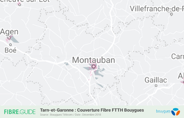 Carte Fibre Bouygues Télécom Tarn-et-Garonne