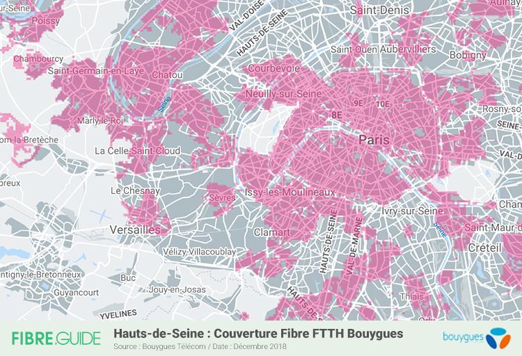 Carte Fibre Bouygues Télécom Hauts-de-Seine