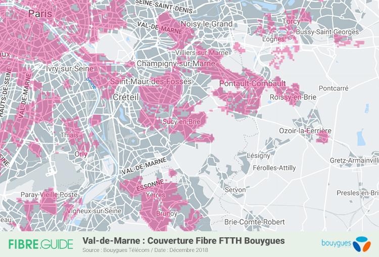 Carte Fibre Bouygues Télécom Val-de-Marne