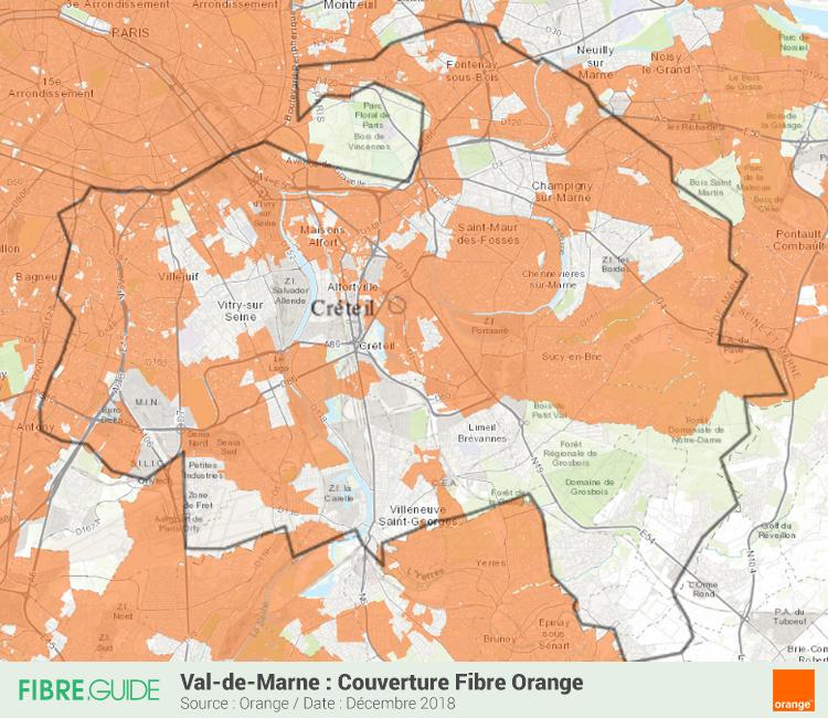Carte Fibre Orange Val-de-Marne