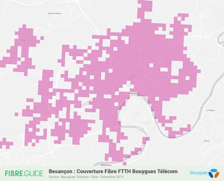 Carte Fibre Bouygues Télécom à Besançon