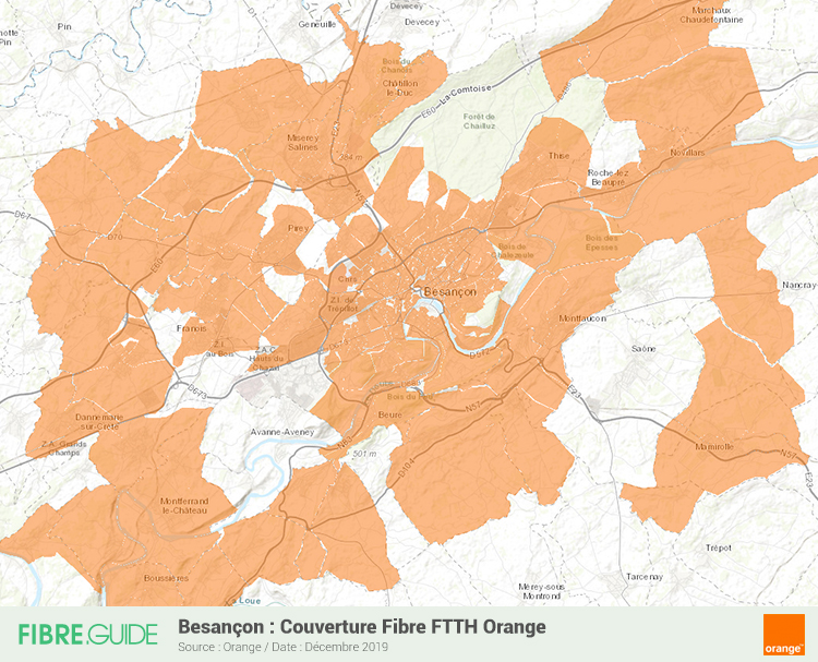 Carte Fibre Orange à Besançon
