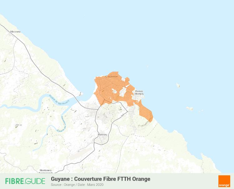 Carte Fibre Orange à Guyane