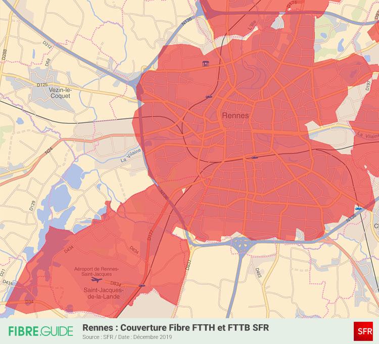 Carte Fibre SFR à Rennes