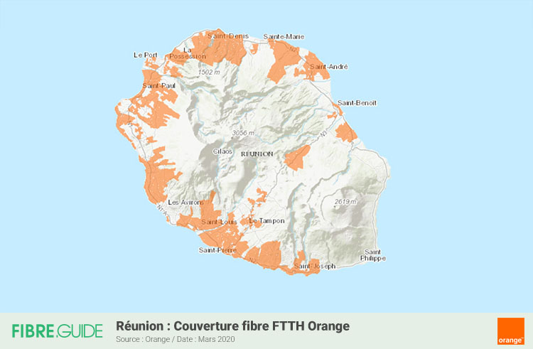 Carte Fibre Orange à la Réunion