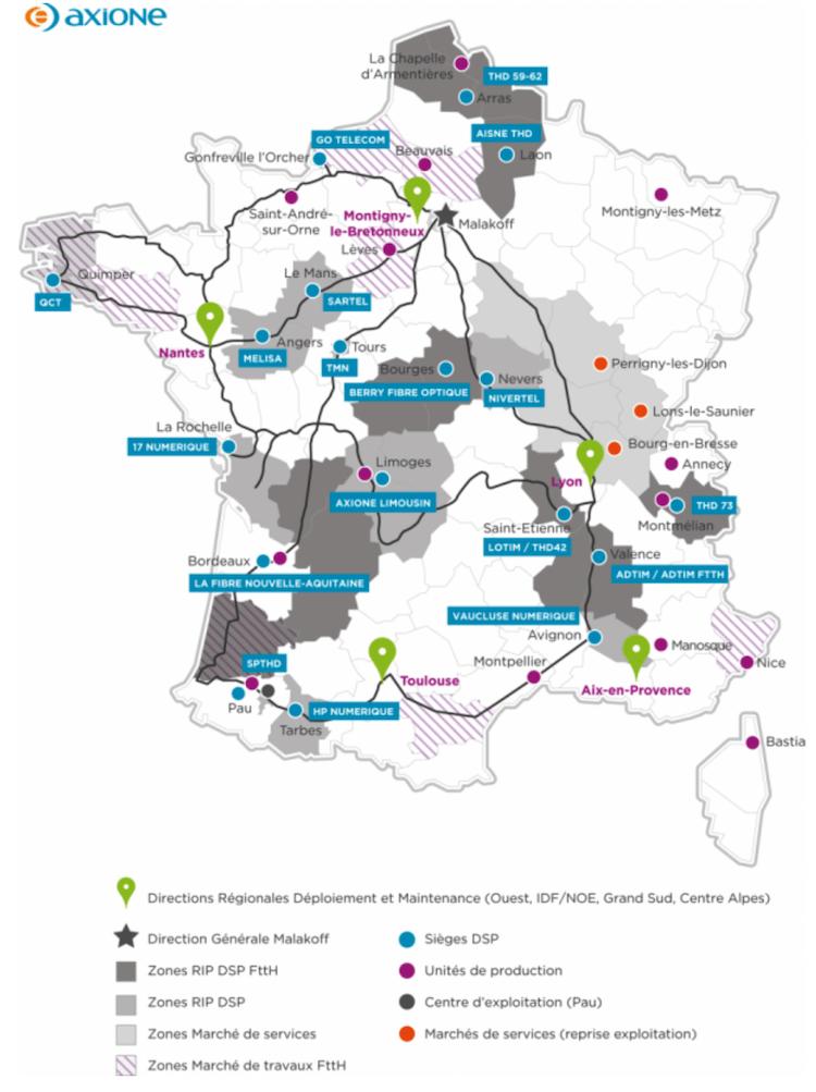 Carte des réseaux Axione