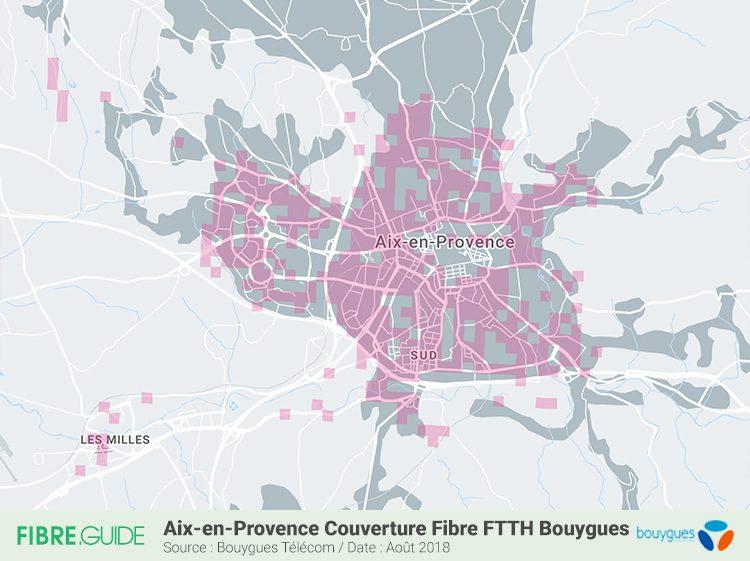 Carte couverture Fibre FTTH Bouygues Télécom Aix-en-Provence