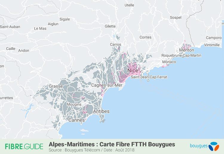 Carte couverture Fibre FTTH Bouygues Télécom Alpes Maritimes 06