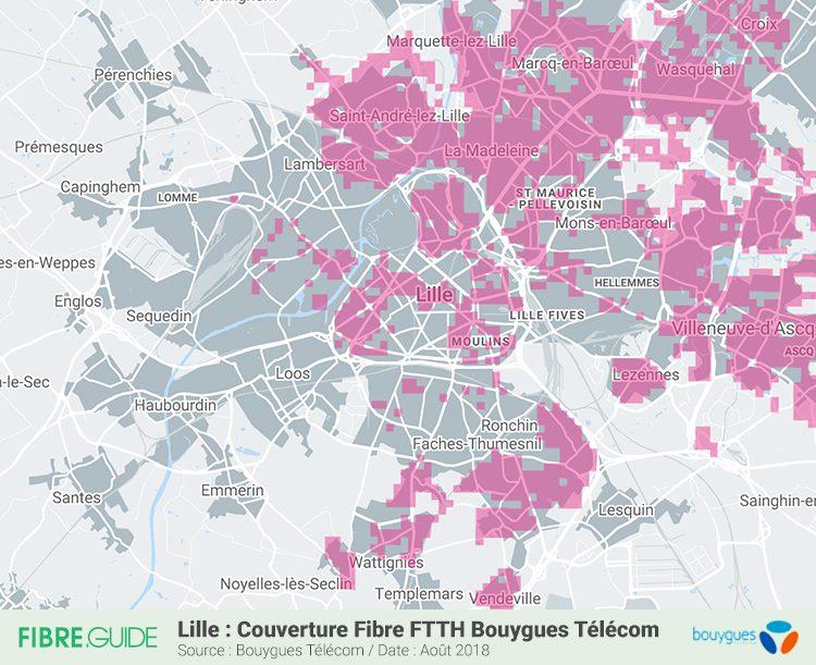 Carte Fibre FTTH Bouygues Télécom Lille