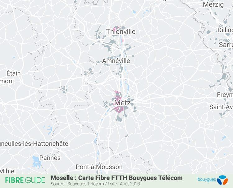 Carte Couverture Fibre FTTH Bouygues Télécom en Moselle (57)