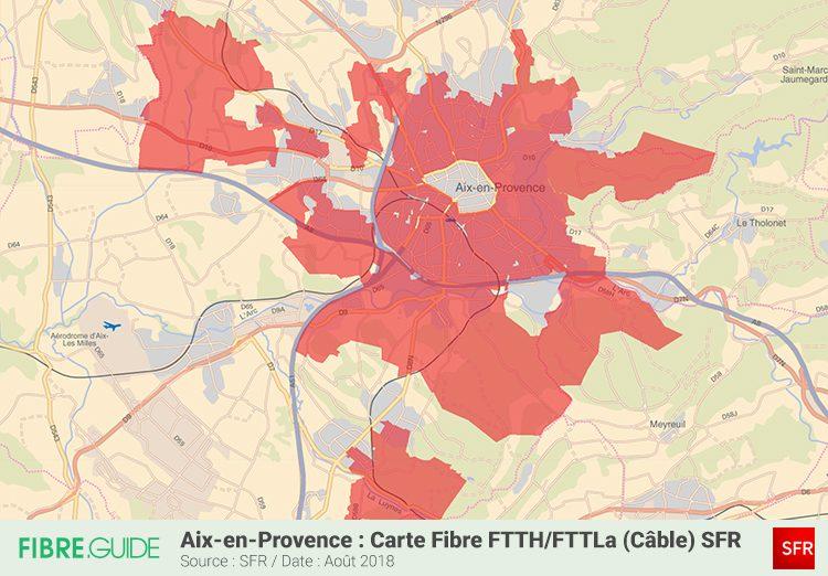 Carte couverture Fibre FTTH SFR Aix-en-Provence