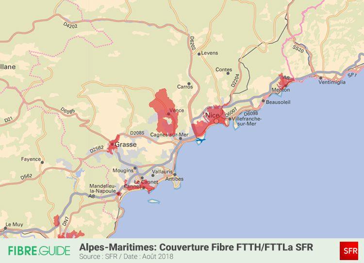 Carte couverture Fibre FTTH-FTTLA SFR Alpes Maritimes 06