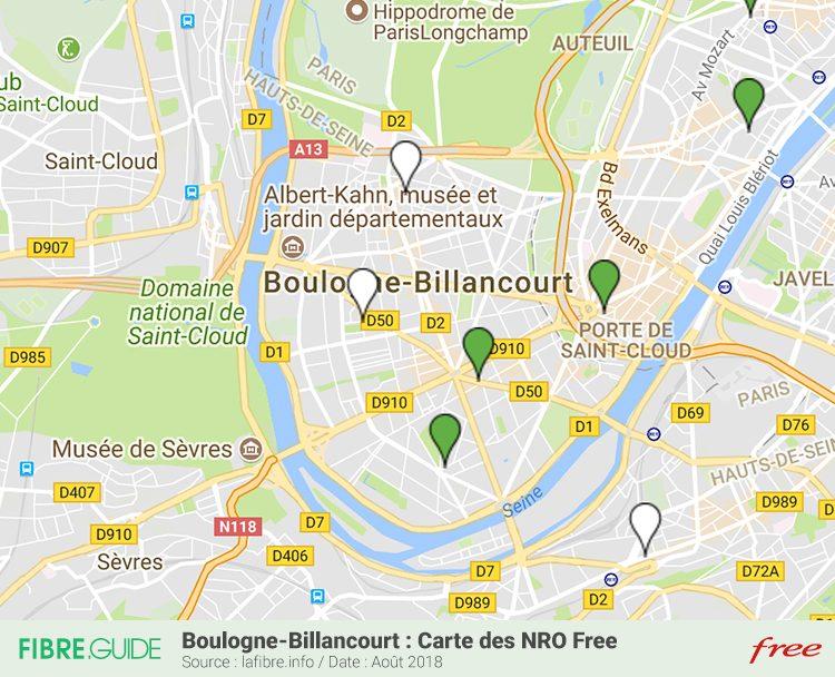 Carte NRO Fibre FTTH Free Boulogne-Billancourt