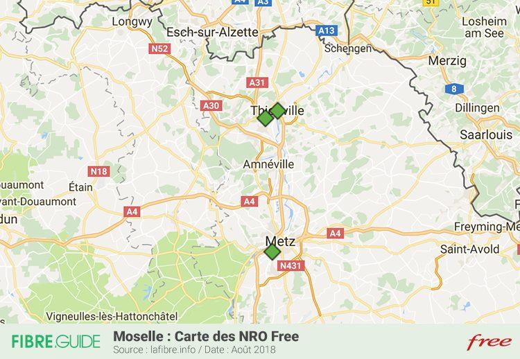 Carte Couverture Fibre FTTH NRO Free en Moselle (57)