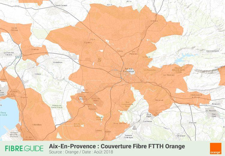 Carte couverture Fibre FTTH Orange Aix-en-Provence