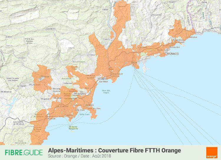 Carte couverture Fibre FTTH Orange Alpes Maritimes 06