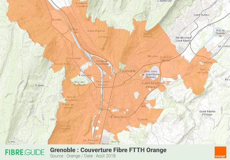 Carte couverture Fibre FTTH Orange Grenoble