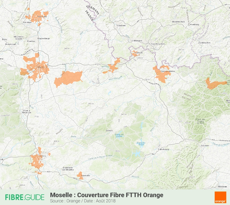 Carte Couverture Fibre FTTH Orange en Moselle (57)