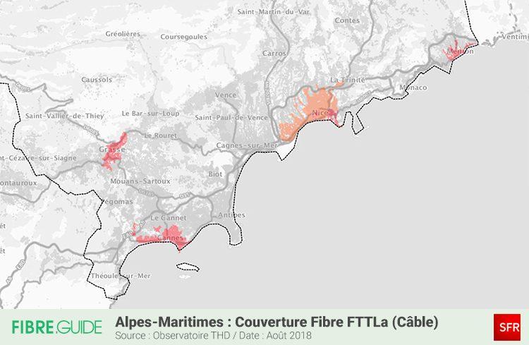 Carte couverture Fibre FTTLA SFR Alpes Maritimes 06