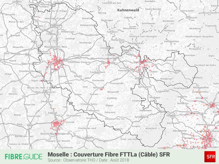 Carte Couverture Fibre FTTLA SFR en Moselle (57)