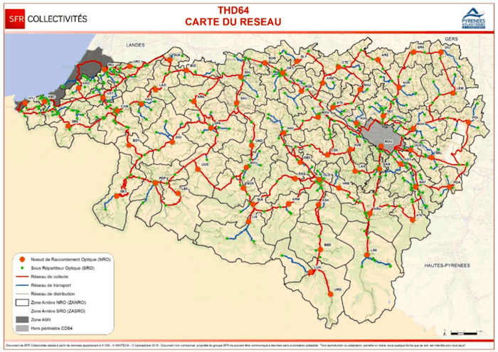 Carte du réseau THD64