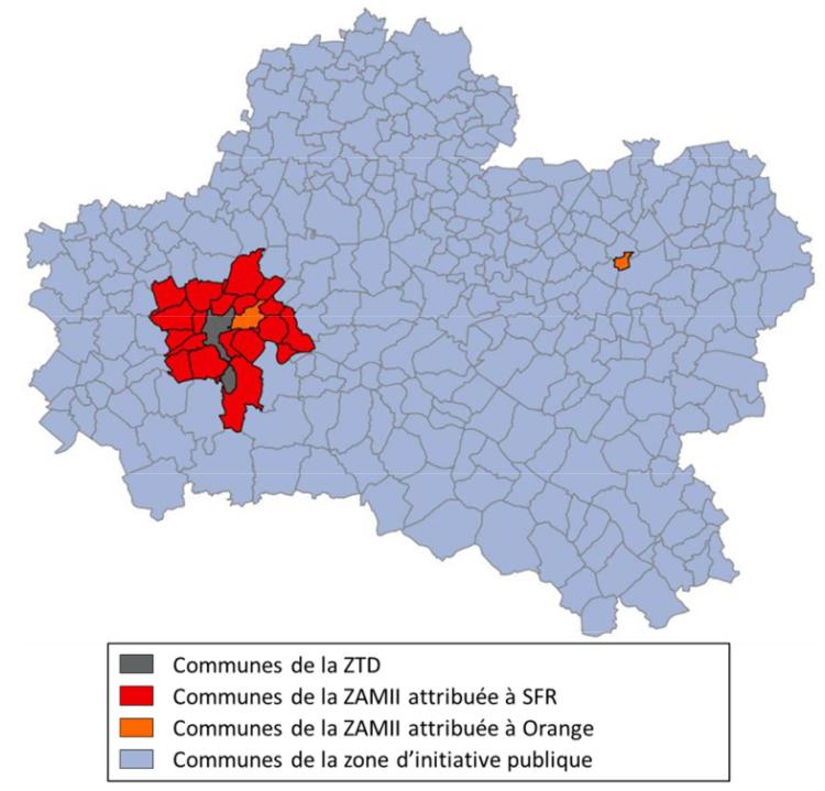 Carte de l'aménagement numérique du Loiret