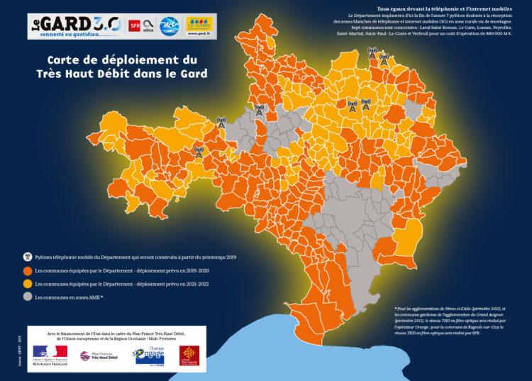 Carte de couverture du Gard en THD : En zone AMII couverte par Orange et SFR, et en zone RIP avec le réseau WIGard