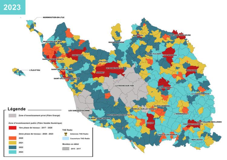 Carte : Planning de déploiements Fibre dans le périmètre du RIP - Crédits : Vendée Numérique